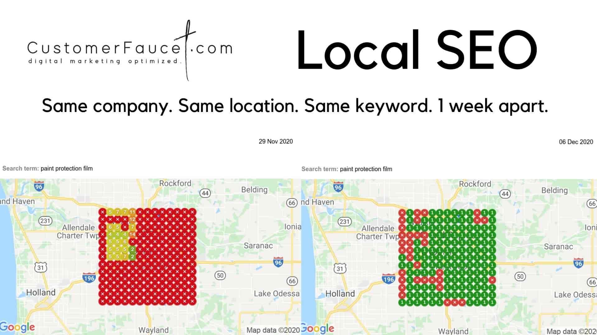 Local SEO - Google Maps search engine rankings improvement by CustomerFaucet.com